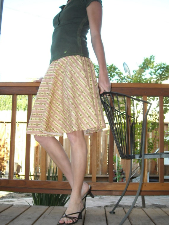 Full Circle Skirt Floral Stripes in Pink and Buttery Yellow SALE