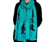 Teal Long Jersey Scarf with Evergreen Trees Screenprint