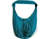Hand Dyed Blue Teal Crossbody Shoulder Bag with Branch Trees Screenprint