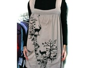Natural color Tunic Dress with Deer Screenprint  - Large