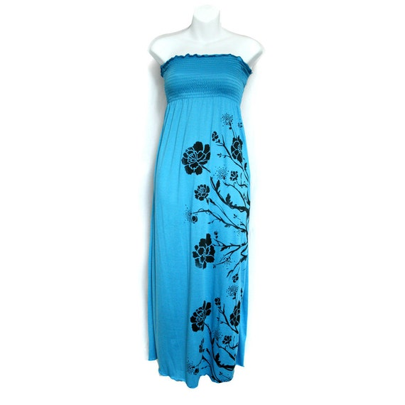 MAXI SALE Cyan Blue Long Strapless Maxi Dress With Flowers And