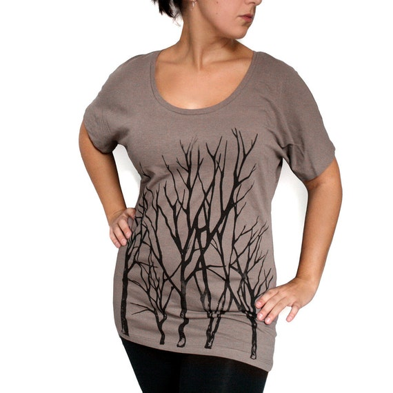 Cocoa Brown Dolman Sleeve Tunic Top with Branch Trees Screen Print - Small