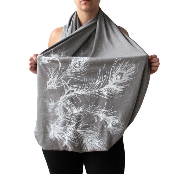 Gray Double Wide Infinity Scarf with White Feathers Screenprint