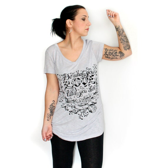 SALE Gray Slub V Neck Long Tee with Do What You Love Screenprint - Large