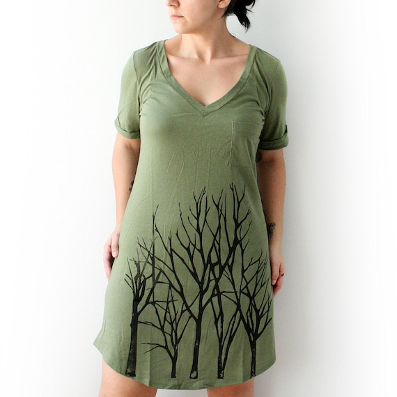 Olive V- Neck Tee Tunic Dress with Branch Tree Design - Large