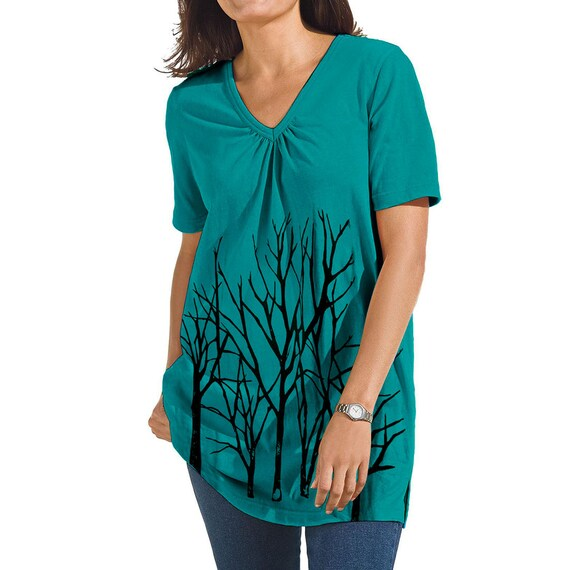 Gorgeous Dark Teal V- Neck Tee with Branch Tree Design - PLUS 18W-20W