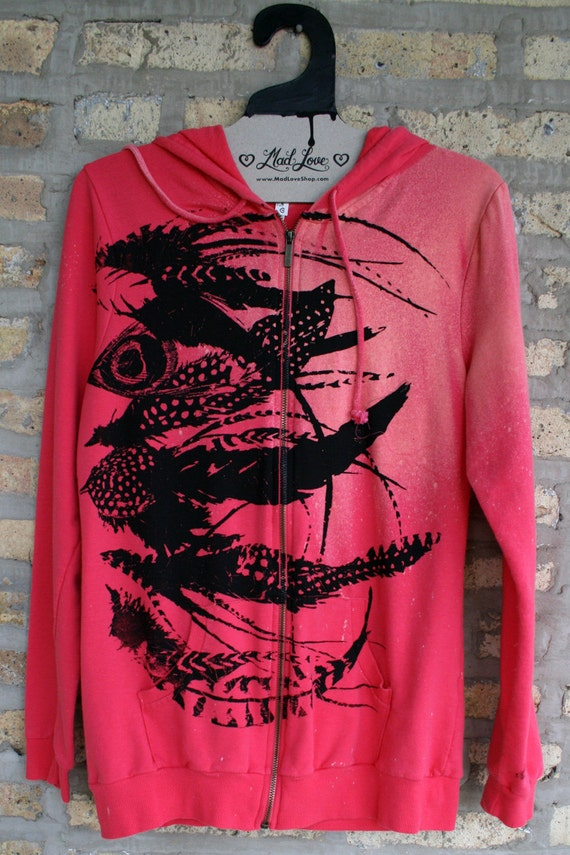 Hand Dyed Coral and Hot Pink Hooded Sweatshirt with Feathers Screen Print OOAK - Medium