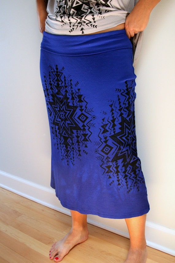 Royal Blues Mid Length Soft Skirt with Native Screen Print - Large