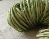 Green soy silk handspun vegan yarn, hand dyed