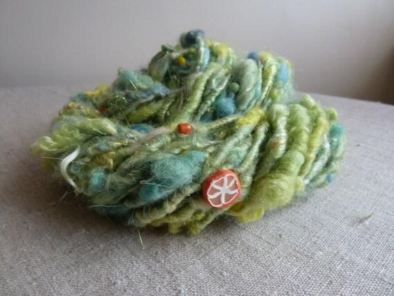 Handspun yarn, art yarn with handmade beads, corespun