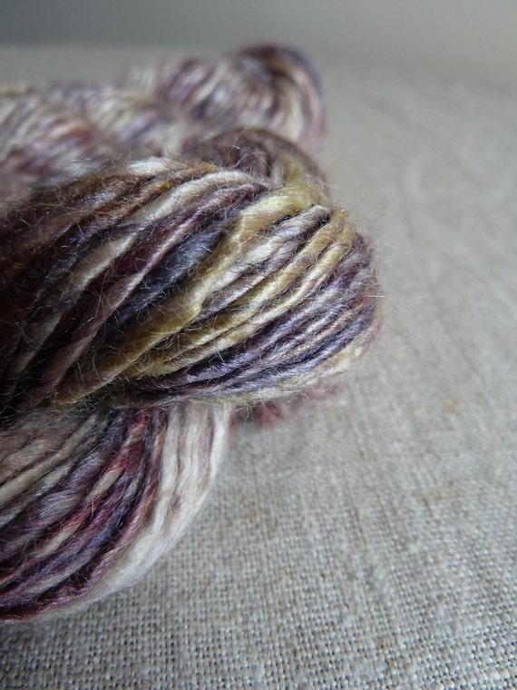 Handspun pure silk yarn, purple grape