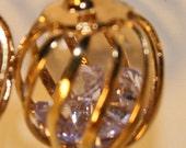 Golden Cage Earrings (lavender)