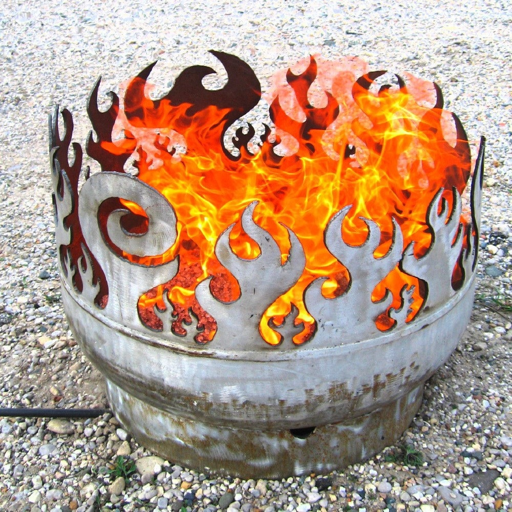 Portable Fire Pit Beach : Beach burner portable bonfire inch recycled steel fire pit