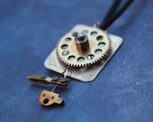 Whimsical Clock Gear Pendant