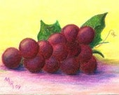 Grapes on Yellow  - Original Colored Pencil ACEO