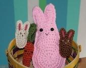 Bunnies Eat Carrots -- Three Crochet PATTERNS