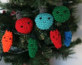 Oldfashioned Christmas Lights and Ball Ornaments Crochet PATTERNS
