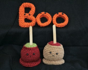 Crochet PATTERNS -- Caramel Apple Candy Apple and Boo Letters