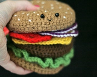 Crochet Cheeseburger PATTERN -- PDF