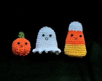 Crochet Ghost Pumpkin and Candy Corn Amigurumi -- Set of 3
