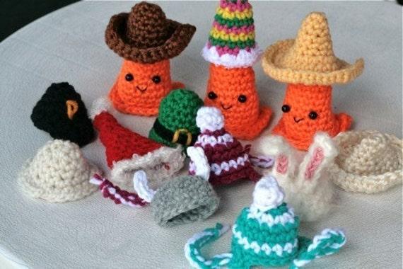 RESERVED Seasonal Safety Cone Hats -- Crochet PATTERNS -- pdf