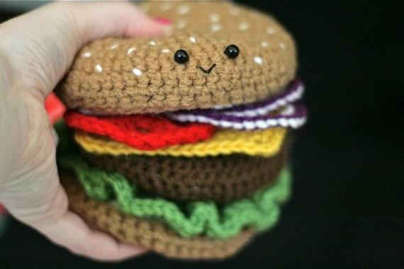 Crochet Cheeseburger PATTERN -- PDF