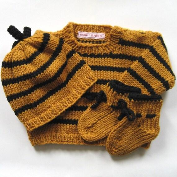 Bumble Bee Baby Knit Sweater Set - Soft Merino Wool Luxury - Baby Shower Gift