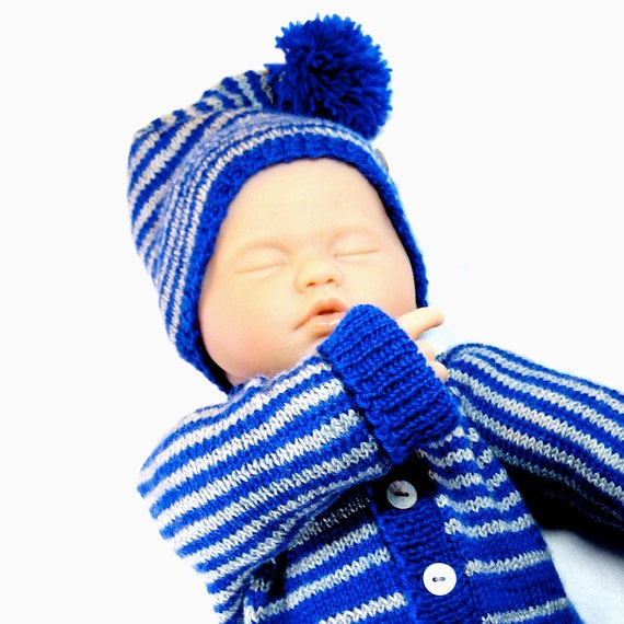 DiY Knit Pattern Striped Baby Sweater and Hat: by BurryBabies