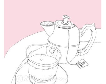 Tea time - giclee-printed greeting card, blank inside - teapot and teacup drawing with pink background