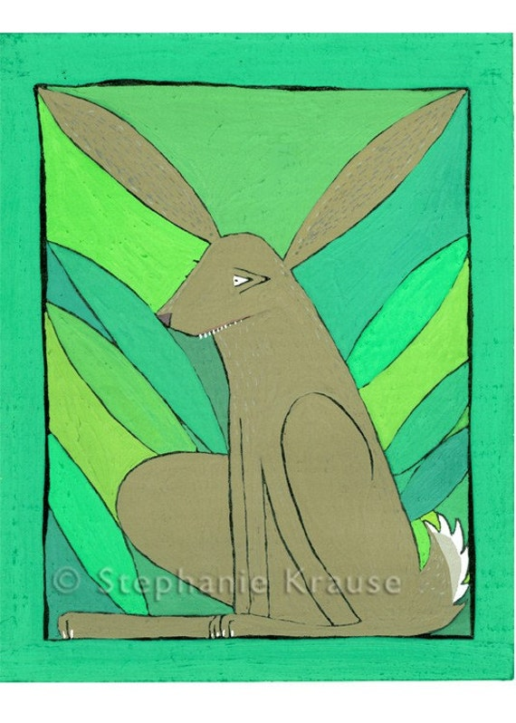 "Rabbit - 8"" x 10"" matted, signed digital Giclee print from original artwork"