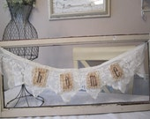 Chippy Shabby Vintage Wood Window with Embellished Lace Banner HOME handstitched
