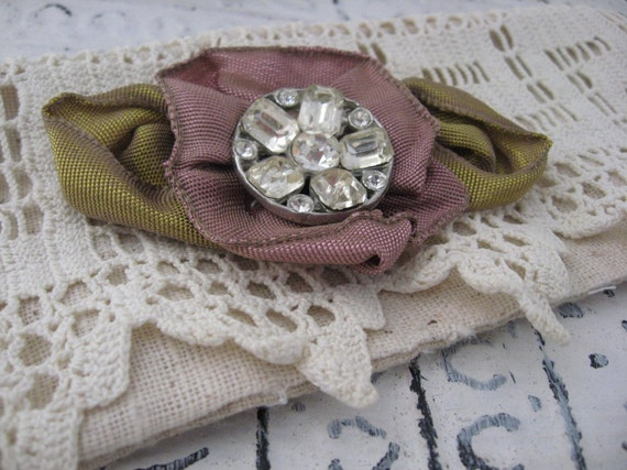 Unique Cuff with Vintage Rhinestone Lace and  Ribbon Floral