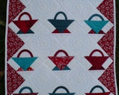 A tisket, a tasket, a red and aqua basket -   miniature or doll quilt
