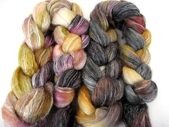 Spinning Two Pack- Wayfarer and Sweet Tortie- 4 oz Merino/Bamboo combed top roving