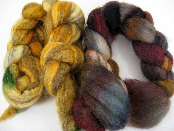 Spinning Two Pack- Ranchero and Mustard OOAK- 4 oz spinning fiber combed top roving