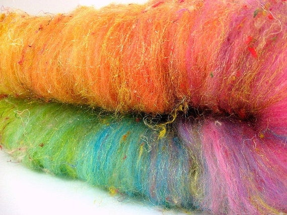 Nerds- Batt 626-01 Polwarth, Corriedale, Silk Threads, Firestar 3.1 oz Spinning, Felting, Weaving, Papermaking