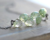 SALE . spring mint . pale green rutilated quartz . oxidized sterling silver