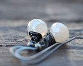 White Gemstone Earrings . Sterling Silver . Pearl Chalcedony . Wire-wrapped Wedding Modern Jewelry