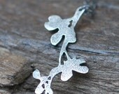 Organic Flower Branch Necklace . Sterling Silver Unique Pendant Metal Nature Earthy Spring Gift Jewelry