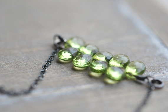 Peridot Necklace Sterling Silver Green Necklace Layered Green Necklace Green Gemstone Necklace Light Gifts for Her
