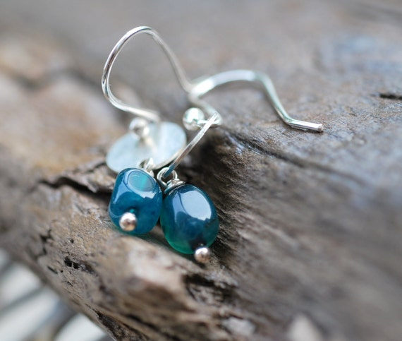 teal tempest earrings . teal blue apatite . sterling silver