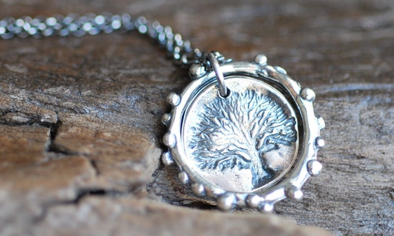 Sterling Silver Rustic Tree Necklace . Recycled Circle Pendant Drop Handmade Jewelry Gift Holiday