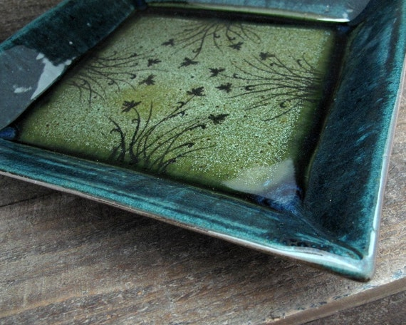 Square Dinner Plate - Meadow in Moss and Deep Lagoon
