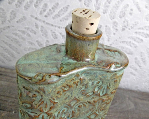 Damask Stoneware Pocket Flask in Jade Green and Copper