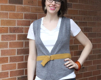 Put a Belt On It Vest Knitting Pattern