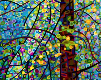 Fine Art Poster Print of an Original Abstract Acrylic Painting - Pine Sprites