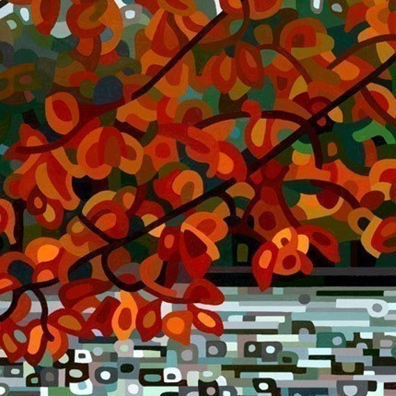 Small Fine Art Poster Print of an Original Abstract Acrylic Painting- Maple Lake