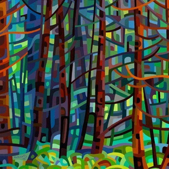 SALE - In a Pine Forest - Small Fine Art Mounted Print Deep Cool Trees