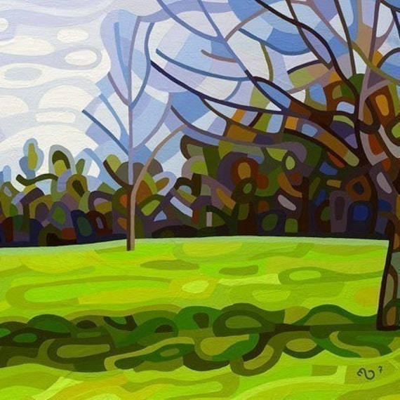 SALE - Spring Shadows - Fine Art Mounted Print Abstract Landscape Morning Shadows Tree