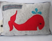 Wool Felt Pillow . Moby Stitch Whale . Red Blue Grey